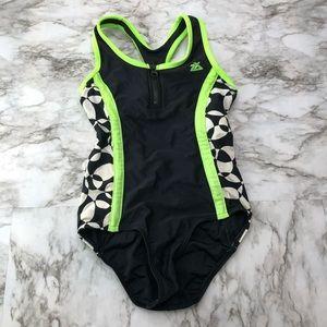 ZeroXposur Girls Black Neon One Piece Swimsuit 8